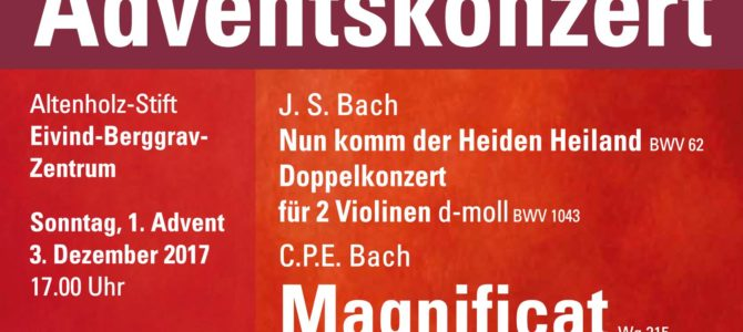 Adventskonzert am 3.12.2017 um 17 Uhr